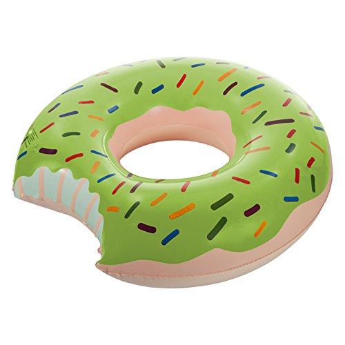 Smartfox Schwimmring aufblasbarer XXL Schwimmreifen Doughnut Donut mit Biss - Ø 120 cm in grün