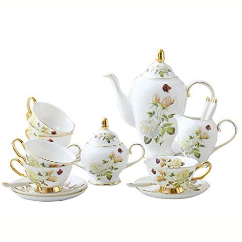 ZHAO YING White Rose English Afternoon Tea Tassenset Continental Bone China Kaffeetassenset Teekanne, Teetasse, Zuckerdose, Milchkanne Geschenk Blue Gold Royal Palace Wind (Color : White) Gold Bone China