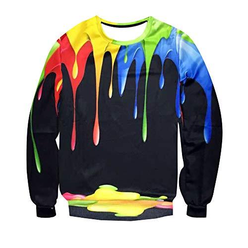 Herren Sweatshirt Damen Crewneck Sweatshirts, Elecenty 3D Gedruckte Langarmpullover Spritzender Top Bedruckter Pullover Bluse Outwear