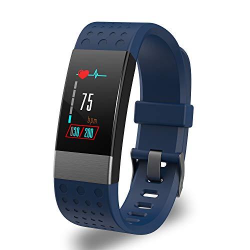YoYoFit Fitness Trackers Pulsmesser, Rock Wasserdicht IP67 Activity Tracker Armbanduhr Blutdruck, Pulsuhren Smart Watch Uhr Fitness Armband Schrittzähler mit Schlafmonitor Kalorienzähler,Blau