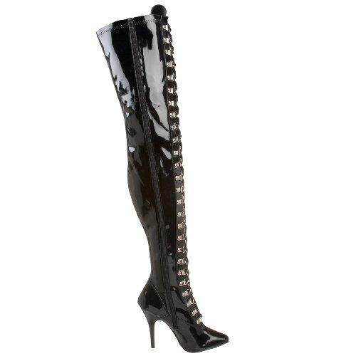Pleaser SEDUCE-3024, Bottes Classiques femme Noir - Nero (Blk Str Pat)
