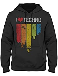 I Love Techno Vintage equalizer Unisex Pullover Hoodie