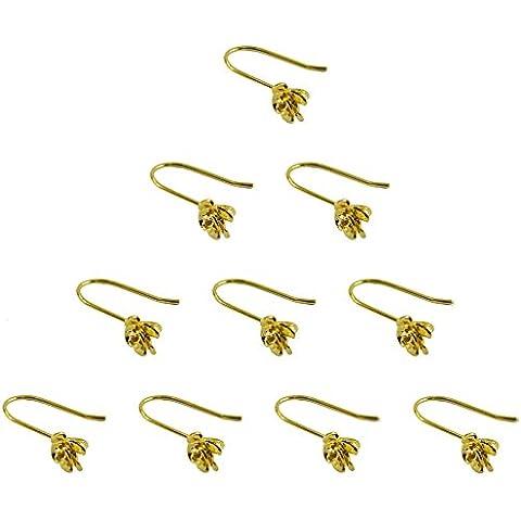 10 X Scoperte Oro Argento Sterling Placcato In Ottone Dei Ganci Orecchino Rosa Fiore Gioielli - Argento Placcato Orecchini Di Fascino
