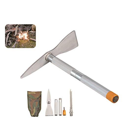 Sunger Outdoor Edelstahl Spitzhacke, Überleben Militär Faltbare Spitzhacke mit Fire Stick Kompass Multi Tool für Wandern Angeln
