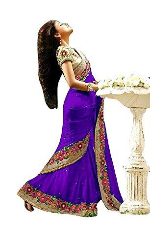 Shree Mira Impex Women's Georgette Saree With Blouse Piece (Smix-37_Purple)
