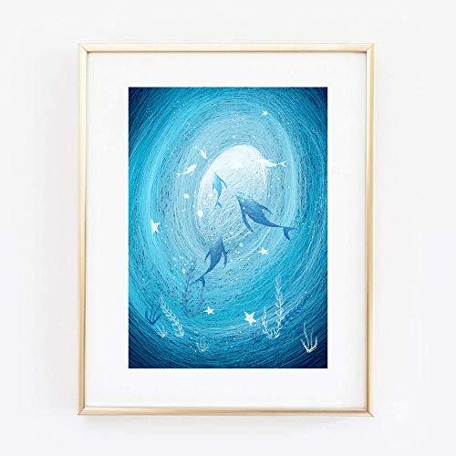 Din A4 Kunstdruck ungerahmt - Delfine Meer Ozean Wasser Unterwasser Fantasy Blau Geschenk Druck Poster Bild
