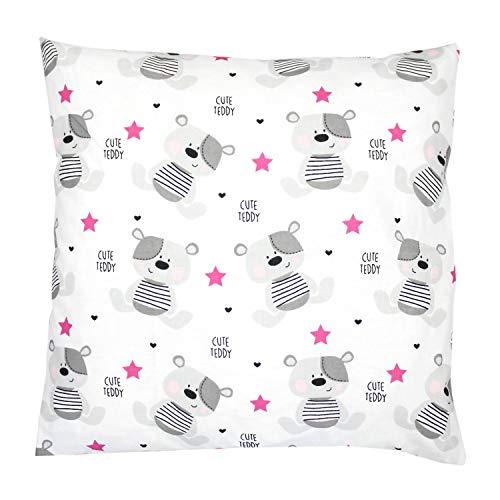 TupTam Kissenhülle Dekorativ Gemustert Dekokissen Baumwolle, Farbe: Teddybärchen Rosa, Größe: 40 x 40 cm