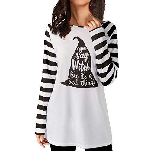 VEMOW Elegant Damen Frauen Casual Langarm Gestreiften Halloween Print Bottom Bluse Casual Täglichen Party Freizeit Top Shirt Hem(Schwarz, EU-36/CN-S)