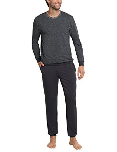 Schiesser Herren Zweiteiliger Schlafanzug Anzug Lang Grau (Anthrazit-Mel. 208), Small (Herstellergröße: 048)