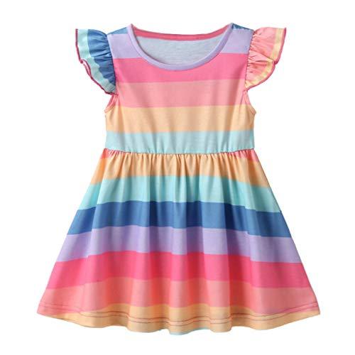 FEIXIANG Kleinkind Baby Mädchen Regenbogen Kleid Stickerei gedruckt Rüschen Kleid Casual Outfits Langarm Prinzessin Kleid