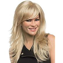 falamka elegante largo recto Rubio con capas Chic Fibra Kanekalon peluca de las mujeres