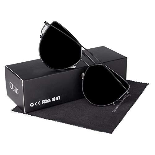 CGID Mode Polarisierte Katzenaugen Sonnenbrille For Damen UV400 reflektierenden Spiegel,Schwarz Grau