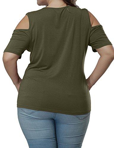Uoohal Damen Sommer Kurzarm T-Shirt Übergröße Locker Offen Vorne Schulterfrei Oberteile Tops Armee Grün