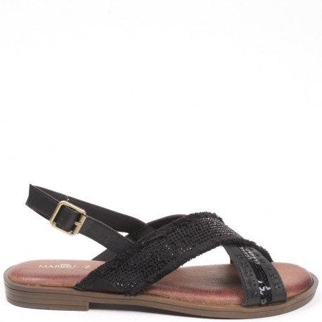 Ideal Shoes - Sandales plates bi-matière et incrustées de strass Sohane Noir