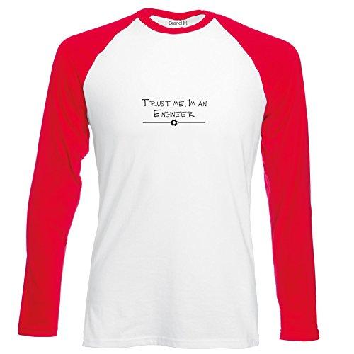 Brand88 - Trust Me, I'm An Engineer, Langarm Baseball T-Shirt Weiss & Rot
