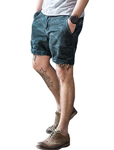 MatchLife Herren Denim Jeans Shorts Cargo Hose Kurz Capri Mit Vintage Look Style2-Navy Blau