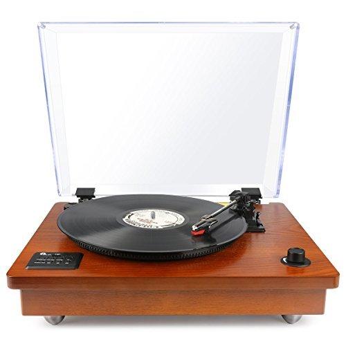 1 BY ONE Schallplattenspieler riemengetriebener Wireless Plattenspieler mit eingebautem Lautsprechern und Vinyl-to-MP3 Funktion, im klassischem Design, Naturholz - Vinyl Plattenspieler Holz