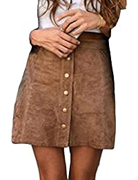 2be7e3211d0ba HARRI Femme Jupe Faux Suède Haut Taille Sexy Jupe Courte Jupe en Daim Souple