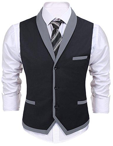 Burlady Herren V-Ausschnitt Ärmellose Westen Slim Fit Weste Anzug Business Anzugweste (EU 48(Hersteller:S), A-Dunkel Grau)
