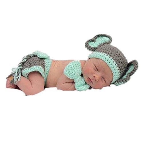 Kleinkind Kostüm Elefanten - Matissa Baby Kleinkind Neugeborenen Hand gestrickt häkeln Strickmütze Hut Kostüm Baby Fotografie Requisiten Props (Baby Elefant)