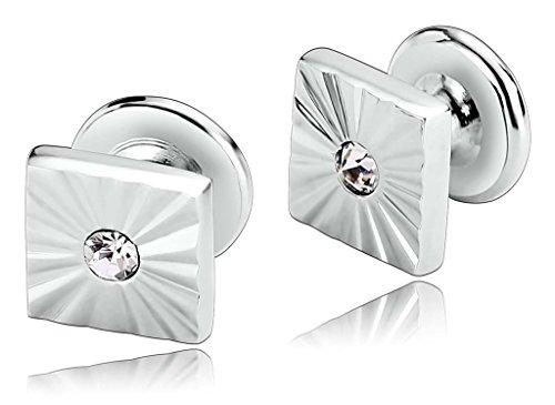 Beydodo Herren Manschettenknöpfe Edelstahl Quadratisches Design Checker Silber (Checker Stoff)