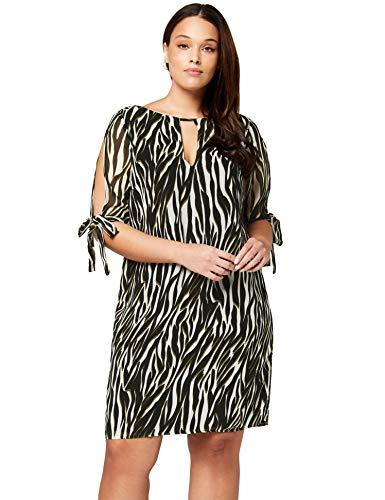 TRUTH & FABLE Damen Mini Chiffon-Kleid mit A-Linie, Mehrfarbig (Multi Colour), 44 (Herstellergröße: 2XL) - A-linie Mini