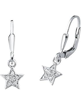 amor Kinder-Ohrhänger Mädchen Sterne 925 Sterling Silber rhodiniert Zirkonia weiß Brisurverschluss - 436991