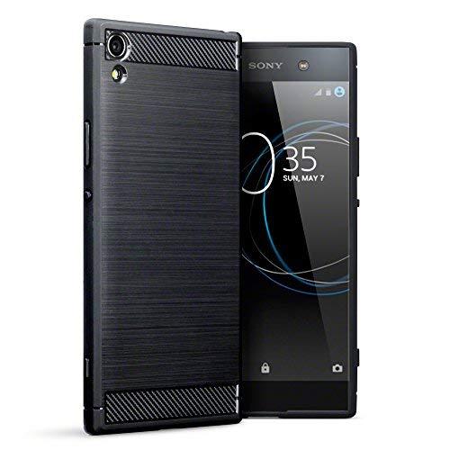 Terrapin, Kompatibel mit Sony Xperia XA1 Ultra Hülle, TPU Schutzhülle Tasche Case Cover mit Karbonfaser & Ausgebürstet Dessin - Schwarz EINWEG