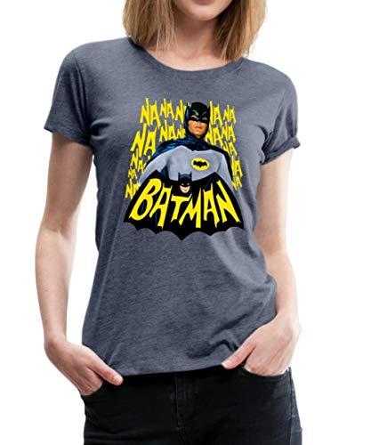 Spreadshirt DC Comics Batman Retro Schauspieler Titelsong Frauen Premium T-Shirt, XXL (44), Blau meliert
