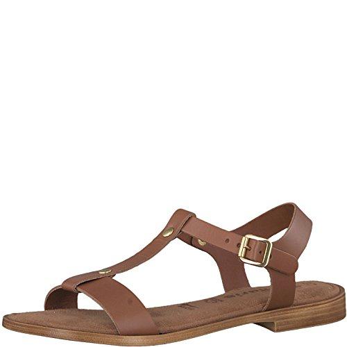 Tamaris 1-1-28149-20 Damen Sandale, Sandalette, Sommerschuhe für die Modebewusste Frau Braun (Cognac Uni), EU 40