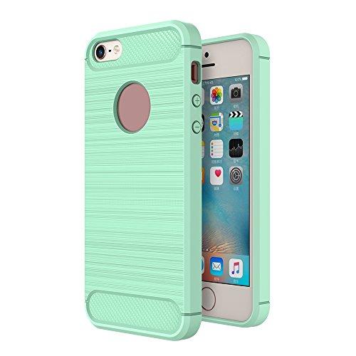 Skitic Brushed Custodia per iPhone 5 / 5S / SE, Slim in Fibra di Carbonio Modello Pelle TPU Indietro Caso Cover Antiurto Armatura Resistente Agli Urti Protezione Case - Verde