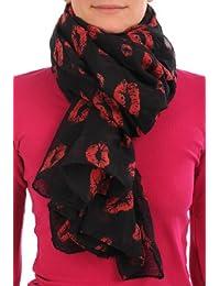Black With Red Lips Unisex Scarf & Beach Sarong - Black Designer Scarf