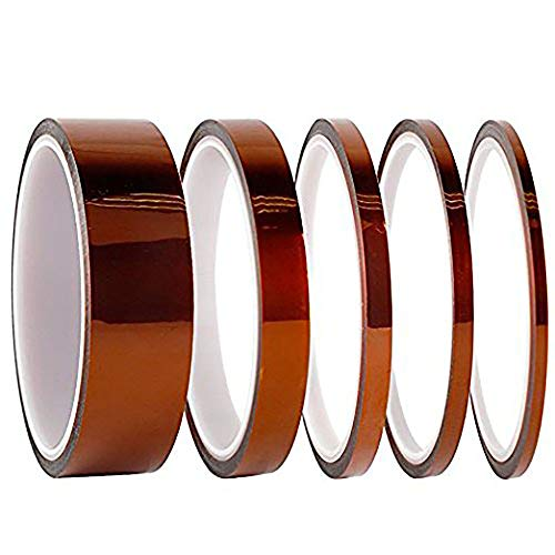 Hohe Temp Tape, Black 10Pack Polyimid Hochtemperaturbeständige, 10Rollen in 5Größen (25, 12mm, 6mm, 5mm, 3mm) hitzebeständig bis zu 300℃, mit Silikon selbstklebend für Maskierung, etc.. -