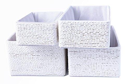 Aufbewahrungsboxen Weiß Biologisch Handarbeit aus Papier Pappe Körbe Umweltfreundlich für Accessoires Schminke 4er Set