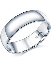 Anillo de boda de plata de ley, banda 6 mm, incluye estuche, disponible