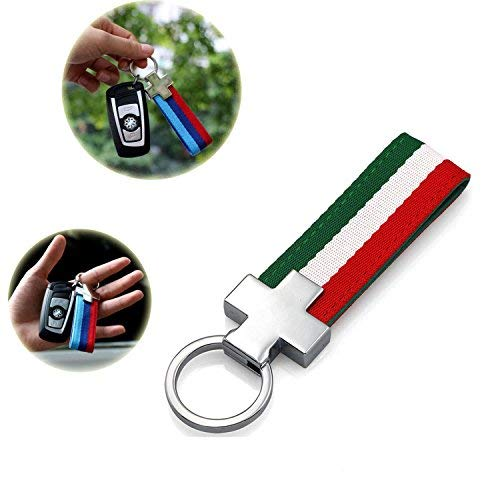 FancyAuto Keychain Leinwand Streifen Sport Power Performance Nylon Band Keychain Schlüsselanhänger(red-White-Green) -