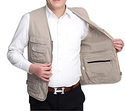 GLF Photography Fishing Vest Middle-aged And Elderly Outdoor Cotton Multi-pocket Vest Back Heart Elderly