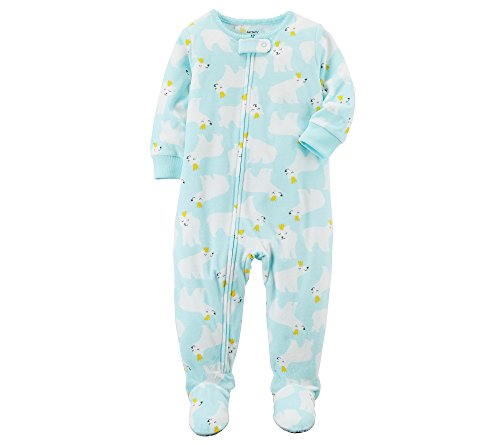 Carters Eisbär (Carter's Schlafanzug Strampler Gr. 80 Fleece Reißverschluss USA Size 18 Month hellblau Eisbär Winter warm)