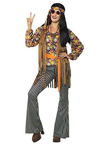 shoperama 60s Hippie Sängerin Damen Kostüm Hose Bluse Weste Stirnband Gürtel 70er Jahre Seventies Sixties Flower Power Festival, Größe:M (Sängerin Kostüm)