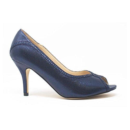 MISSDIVA Miss Diva, Damen Peep-Toe, Blau - Navy - Größe: 36.5
