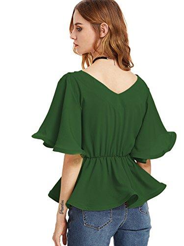 ROMWE Damen Elegant Bluse mit Gürtel Rüsche VAusschnitt Locker Sommerbluse  Oberteil Grün