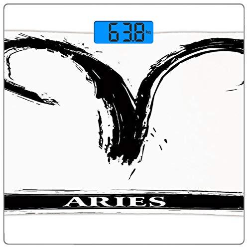 Digitale Präzisionswaage für das Körpergewicht Platz Astrologie Ultra dünne ausgeglichenes Glas-Badezimmerwaage-genaue Gewichts-Maße,Widder-Astrologie-Zeichen mit künstlerischem Schmutz-Illustrations-