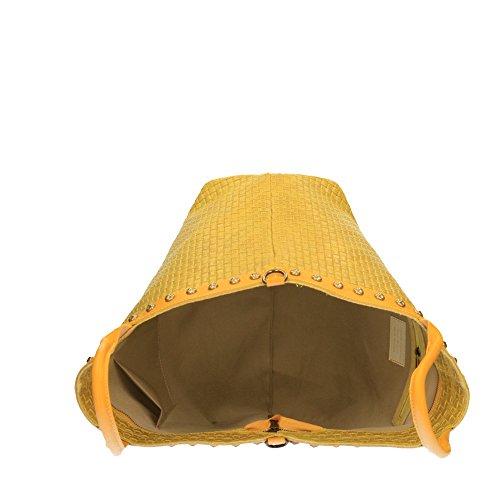 Borsa a Mano da Donna Stampa Intrecciata con Tracolla in Vera Pelle Made in Italy Chicca Borse 53x34x20 Cm Giallo