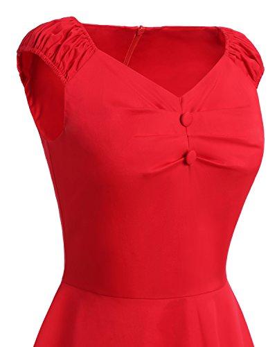 Bbonlinedress Damen Vintage Retro kurzes Kleid mit kleinem V-Ausschnitt Burgundy