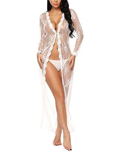 BESDEL Frauen Sexy Dessous Robe Durchsichtig Nachtwäsche Langes Spitzenkleid Kimono Cardigan Weiß S