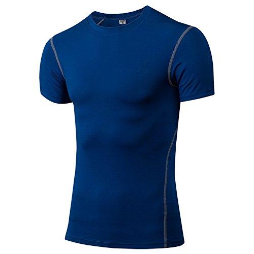Generic Herren Männer Sports Compression Fitness Gym Bodybuilding Basiskleidung Unter Tops Shirts Thermische Kurze Ärmel Tees Skins Top Blue