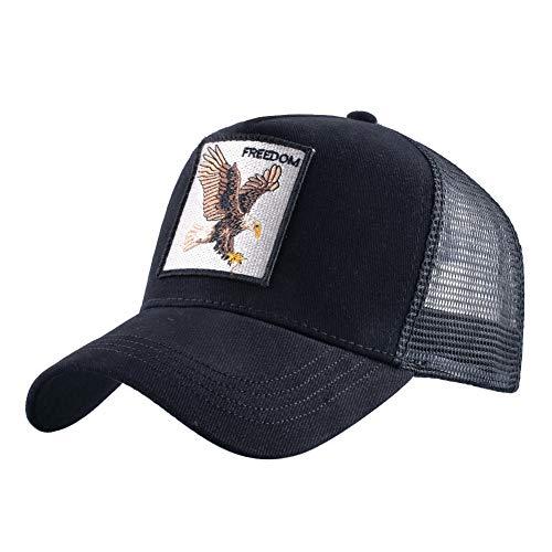 sdssup Vintage Baumwolle Bestickt Tier Baseball Cap Net Hut Cap Truck Driver Hut Chicken Eagle - schwarz verstellbar -