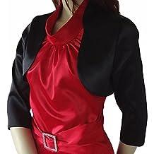 Satén Bolero 3/4 mangas Classic compatible con vestido/vestido de cóctel/boda chaqueta suéter en varios colores rojo negro blanco y plateado
