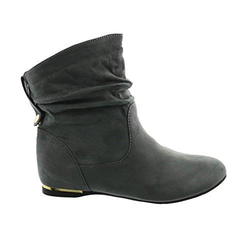 Senhoras Botas Botas Cowboy Botas Ocidentais Plana Slip-on Sapatos De Inicialização 71 Cinza