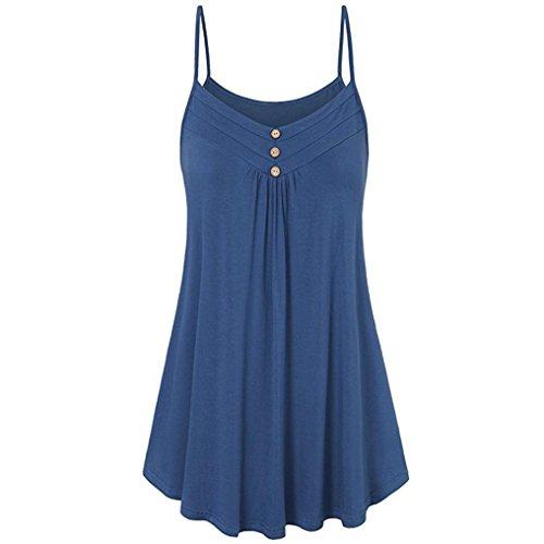 VEMOW Sommer Muttertag Geschenk Casual Täglichen Frauen Damen Lose Taste V-Ausschnitt Cami Tank Tops Weste Bluse T-Shirt T-stücke Pulli Pullover(Blau, EU-36/CN-S)